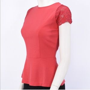 Red Lace Cap Sleeve Top, Size 2